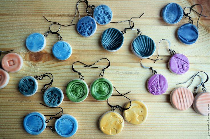 Купить Керамические серьги - комбинированный, Керамика, керамика ручной работы, керамические украшения, керамические серьги