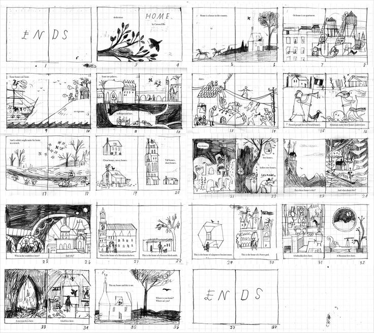 Storyboard for 'Home' by Carson Ellis//Planning out an illustrated work.