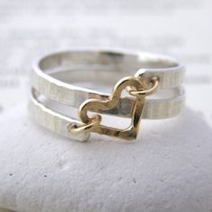 contemporary silver and gold spiral heart ring – S…