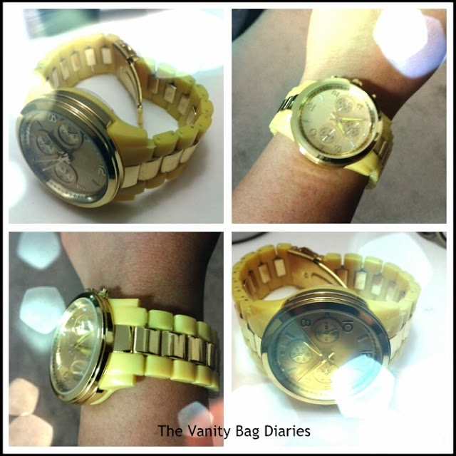 This 'Cheap but Chic Diaries' edition is highlighting the oh-so current trend 'NEON'. Mostly all the jewelry stores have all the trendy time pieces available to add to your arm candy but they range from 20$ - 40$.         I found this gorgeous Neon yellow n gold link watch at Diva on sale for 9 $. This