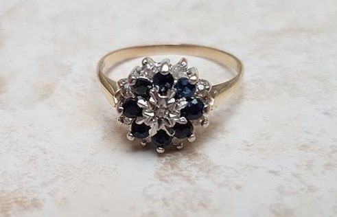 Sapphire & Diamond Cluster Ring in 9ct Gold by GemsAfire on Etsy