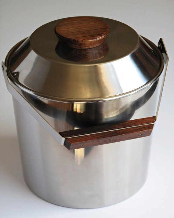 Design Tias Eckhoff 60s Modernist Lundtofte Ice Bucket Stainless by 20thCenturyStudio