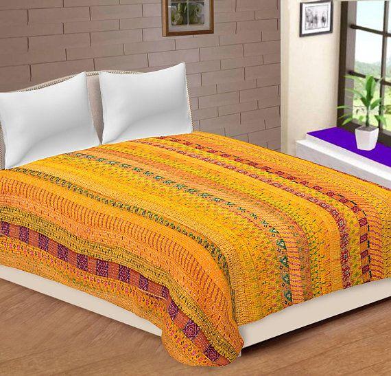Indian Patola Silk Kantha Quilt Bohemian Bedding Bedspread Queen Size Blanket Patchwork Kantha Bedsheet Bedcove Bed Spreads Queen Size Blanket White Bedspreads