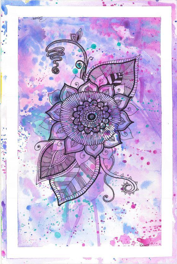 Mandala Flower Purple by EyeScreamPaintShop on Etsy, $20.00