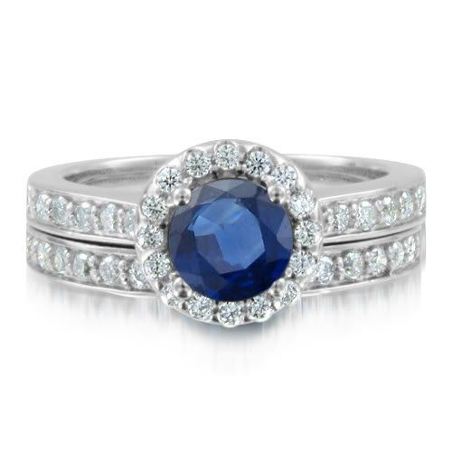 Great Sapphire Ring Diamond Wedding Ring Bridal Set in k White Gold Halo Ring G Commitment