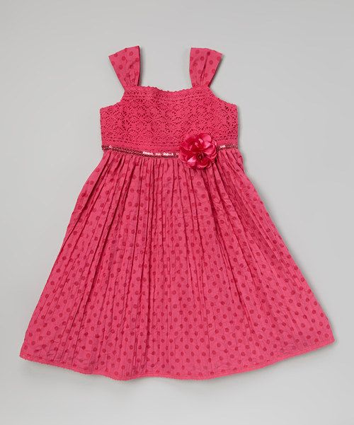 Take a look at the Fuchsia Polka Dot Lace Bodice Dress - Girls on #zulily today!