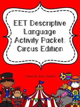 This packet contains various activities for addressing descriptive language skills through use of the EET. The circus theme makes it an excellent resource for theme-based therapy, and a fun way to engage students. Contents:* 18 wordless circus picture cards* 18 labeled circus picture cards* descriptive language worksheets (these sheets can be printed and copied individually and each student can write their answers on their sheet, or they can be printed on cardstock and laminated to be used…