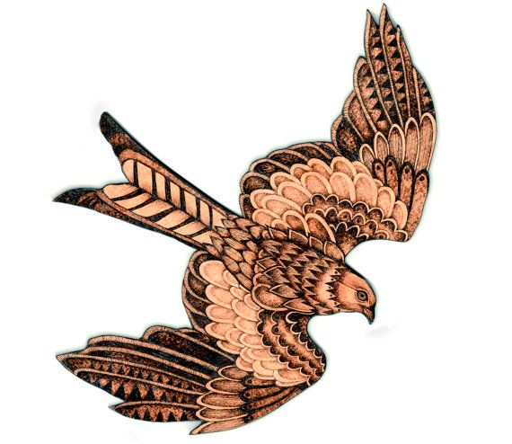 Red Kite Wall Hanging Hawk pyrography Wood by GlenoutherCrafts