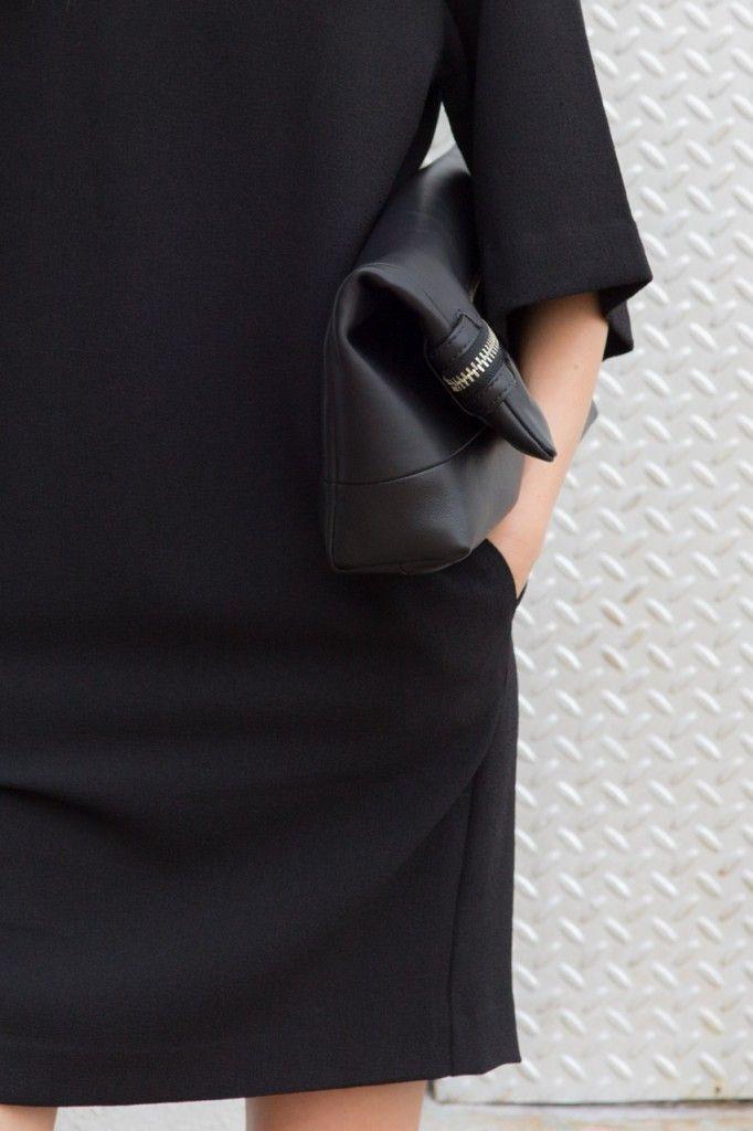 MINIMAL + CLASSIC: black 3/4 sleeve dress with clutch / FIGTNY