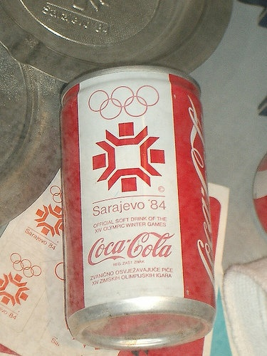 Can  you imagine that Sarajevo was formally printed on Coca Cola cans?! Well, here it is. Coca Cola can dedicated to Sarajevo, Olympic Games 1984