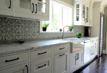 I love this kitchen, but especially the cement tile backsplash. Nantes from the Original Mission Tile company in Mexico. http://www.originalmissiontile.com/2011/veritem.php?idi=704