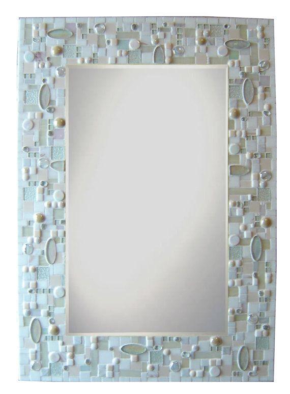 Large Mosaic Mirror Frame White Monochromatic By Opusmosaics On Etsy,  $519.00
