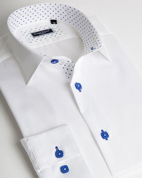 Franck Michel shirt   White italian shirt for men with blue dots on liner and collar interior   fashion-shirts.com