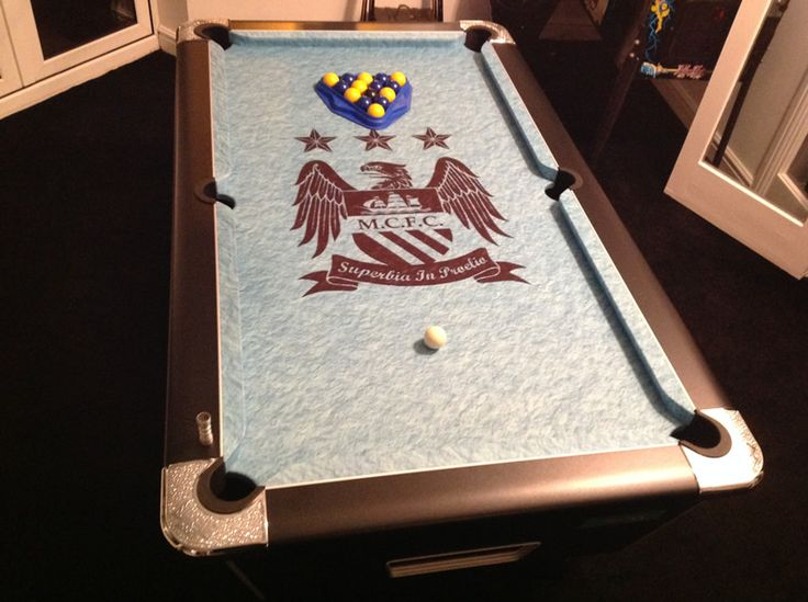 Pool table cloth in custom Manchester City Football Club colours with club badge, supplied by IQ