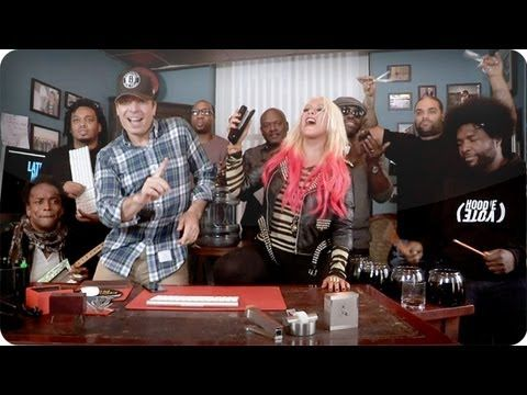 FUNNY Jimmy Fallon, Christina Aguilera and The Roots move 'Your Body' with office supplies - TODAY Entertainment