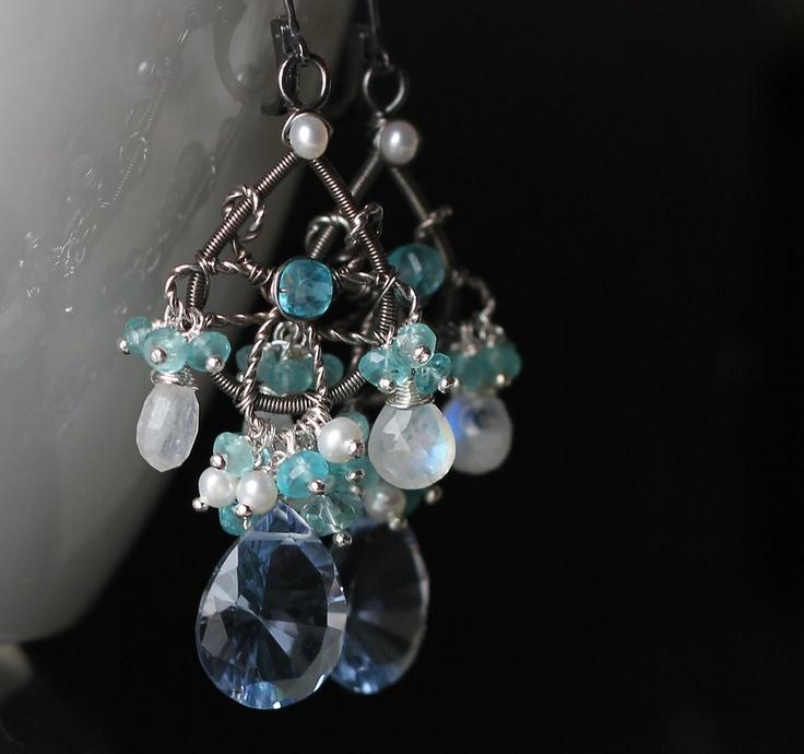 Blue Chandelier Hydro Quartz Concave- rainbow moonstone, apatite, pearl. $138.00, via Etsy.