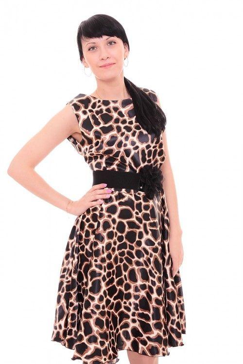Платье с леопардовым узором А7648 Размеры: 46-52 Цена: 675 руб.  http://optom24.ru/plate-s-leopardovym-uzorom-a7648/  #одежда #женщинам #платья #оптом24