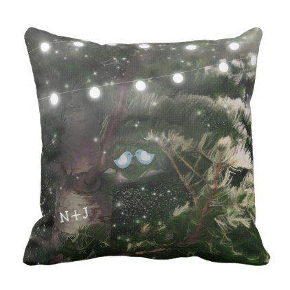 #wood - #Love Birds  Pine Tree Rustic Night Lights Custom Throw Pillow