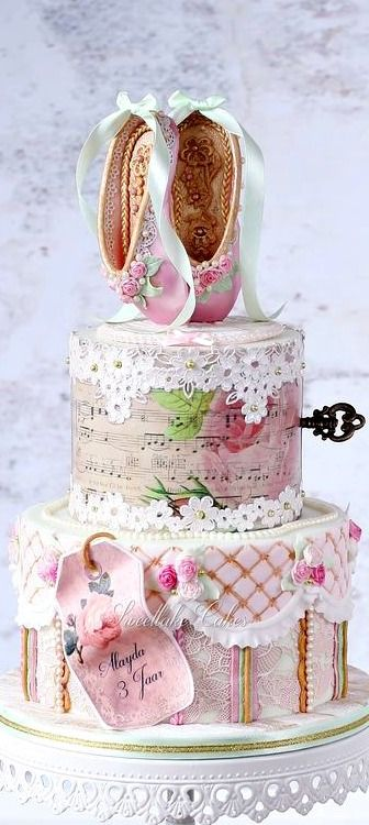 Shabby Chic Vintage Victorian Ballet Cake