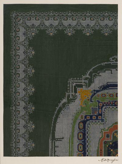 oud nummer: 1971-0040. and dekverf op papier, ontwerp voor handgeknoopt Deventer tapijt. fond olifantgrijs, waarop rand in lichtgrijs-blauw en in het midden medaillon in lichtgrijs-blauw met groen,...