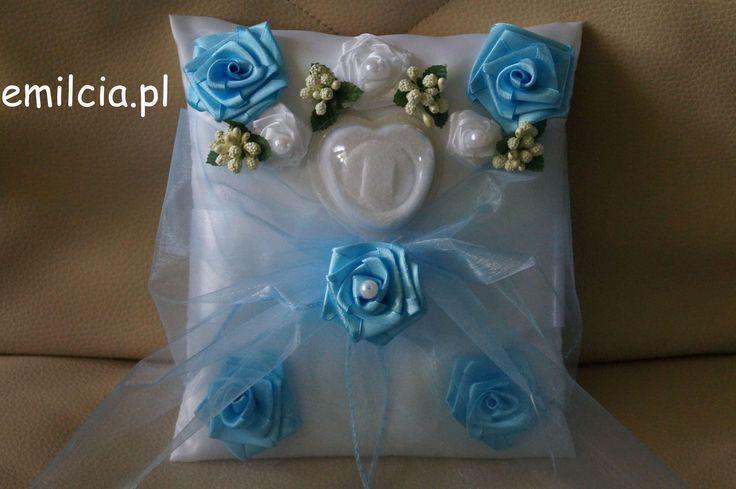 Poduszka - poduszki, poduszeczka na obrączki Błękit i Biel Ślub Wedding