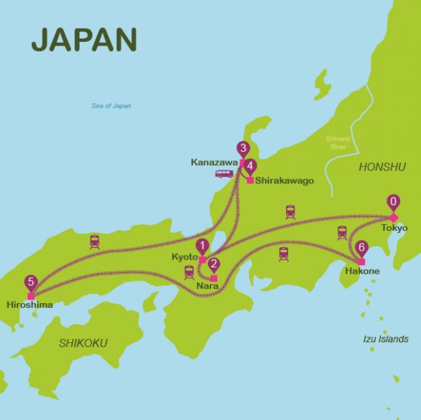 Touristic map of Japan | Plan a trip to Japan in 13 days | Way Away