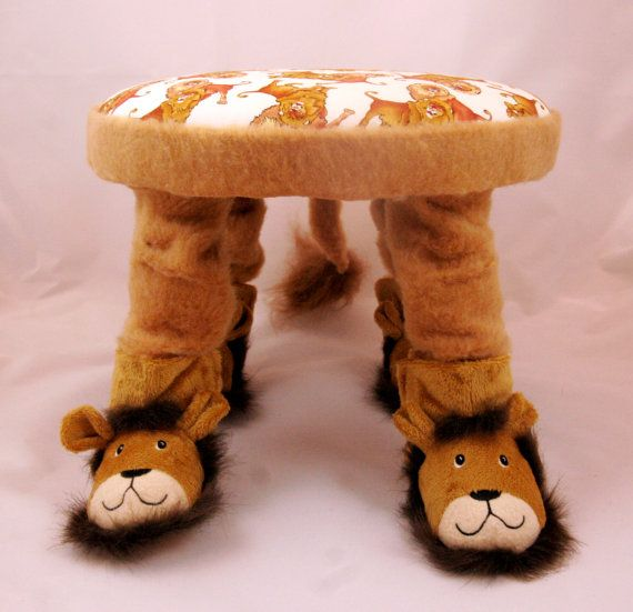 Small Footstool, Child's Chair, Handmade, Children's Furniture, Unique Baby Gift, Baby Nursery Furniture, Wizard of Oz, Cowardly Lion