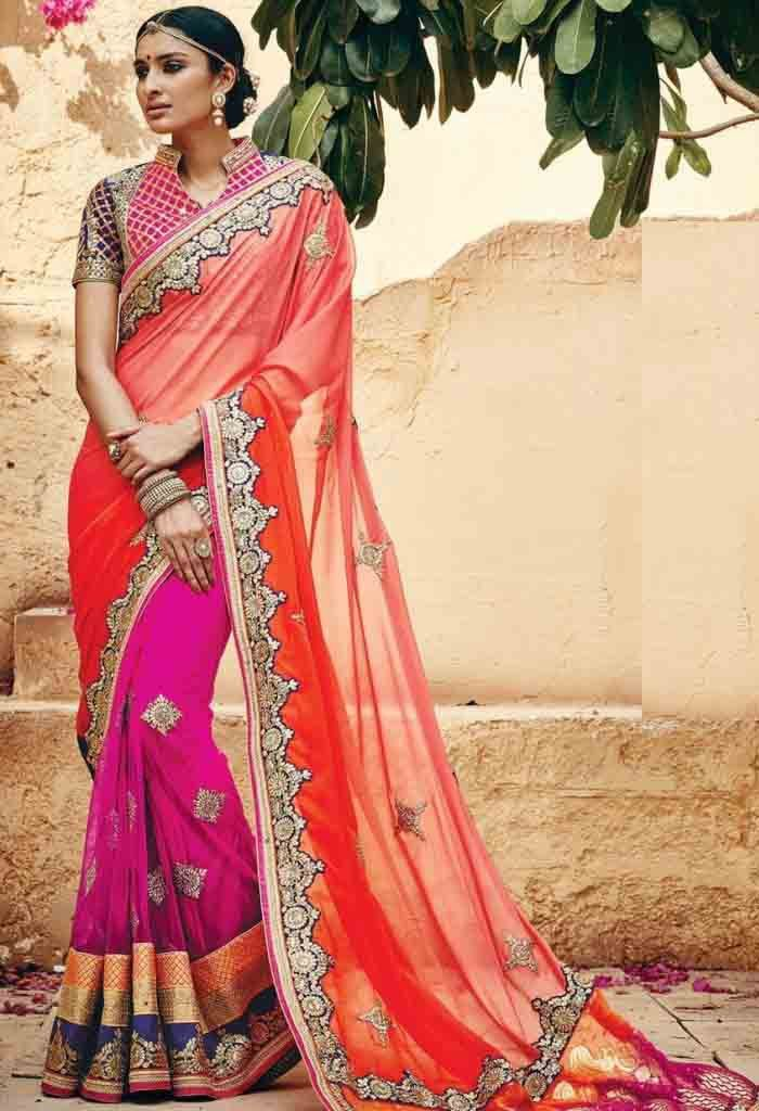 Pink Net Designer Saree With Heavy Embroidery Work 22