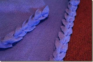 This tutorial has more specific measurements for the strips and clips, which is helpful.  A Woman: Easy No Sew Fleece Blanket Edging.