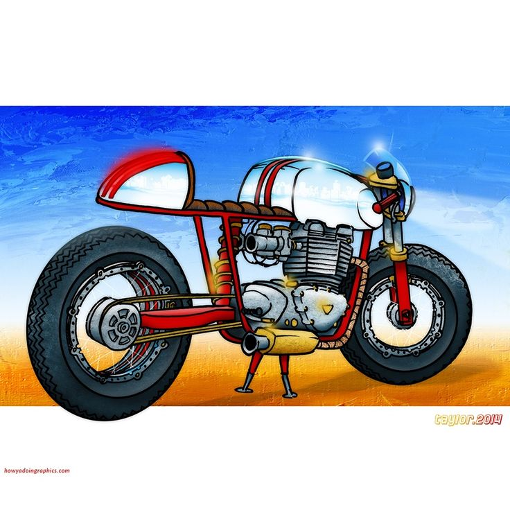 Triumph Cafe Racer http://www.redbubble.com/people/howyadoin/calendars/13088352-bikes #motorcycleart #motorcycle #triumph #caferacer