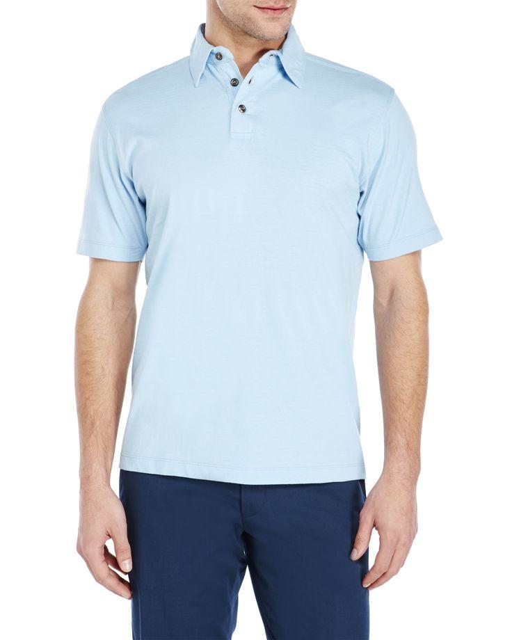 James Campbell Tonal Stripe Short Sleeve Polo