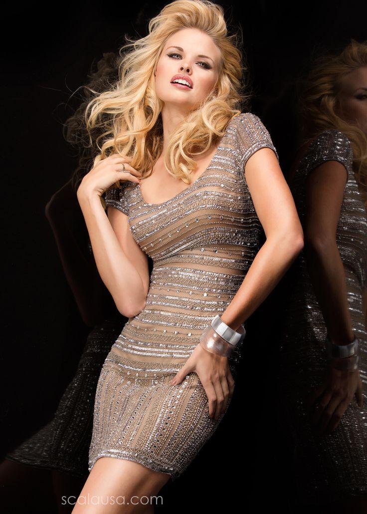 Scala 48350 Beaded Stripe Cocktail Dress #CrushingonRissyRoos #favorite