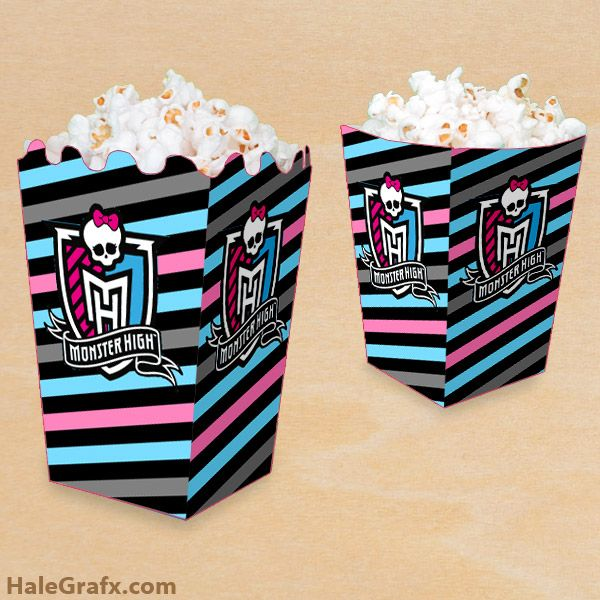 Click here to download a FREE Printable Monster High Popcorn Box template!