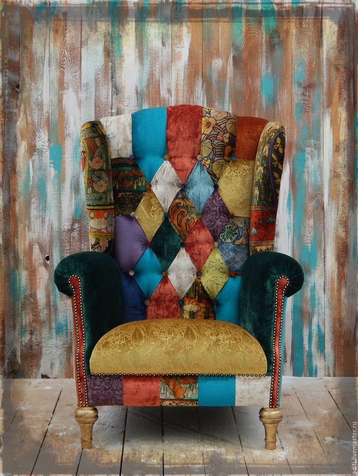 Crazy patchwork chair | Купить комплект кресло и пуф №78 - кресло, кресло пэчворк, авторская, интерьер, английский стиль