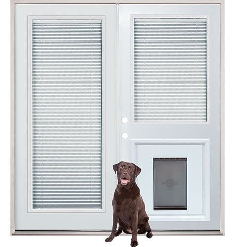 Patio french back doors with internal mini-blinds and pet doggy door insert pre-installed