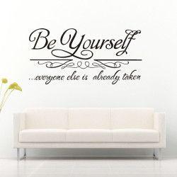 Be yourself! Be yourself… everyone else is already taken! Motiverande och inspirerande väggdekor till hemmet som förutom motivet även har en iögonfallande storlek.  Länk till produkt: http://www.feelhome.se/produkt/be-yourself/  #beyourself #Homedecoration #art #interior #design #Walldecor #väggdekor #interiordesign #Vardagsrum #Kontor #Modernt #vägg #inredning #inredningstips #heminredning #citat #motivation #kärlek #lycka