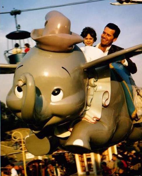 Too much cuteness -- James & Gigi Garner on the Dumbo ride at Disneyland