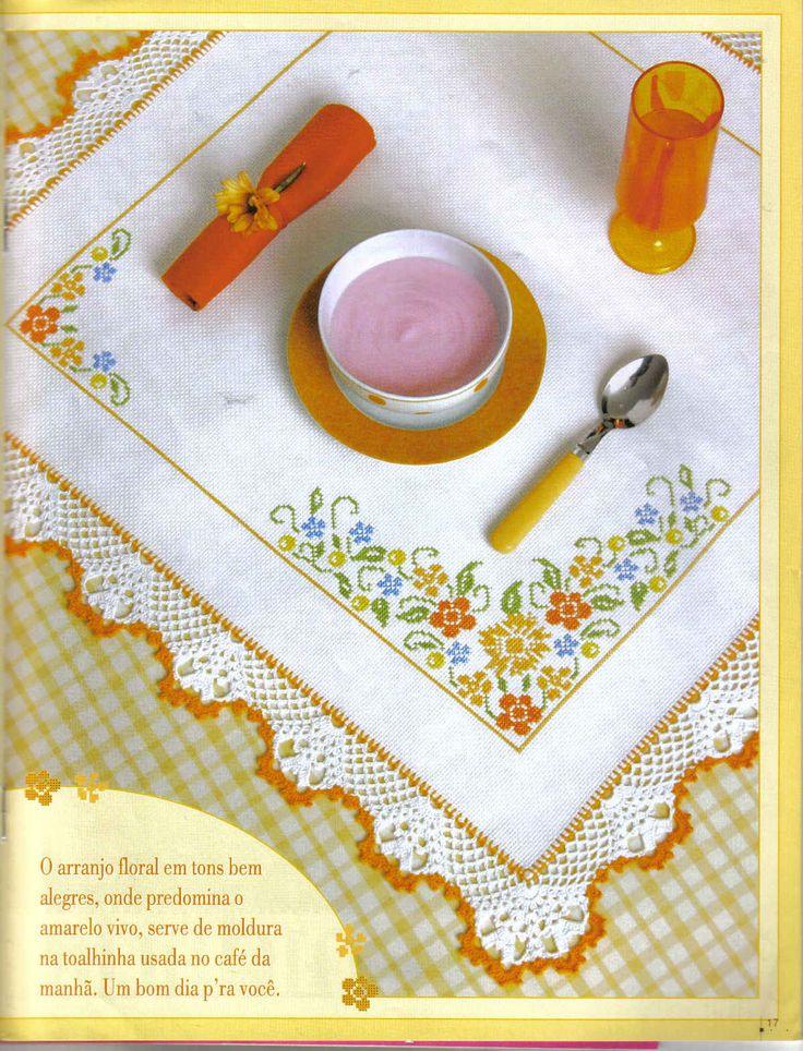 Panos de pratos em Ponto Cruz e Crochê com gráficos - =(^.^)=Rô Tricô e Crochê Mania=(^.^)=