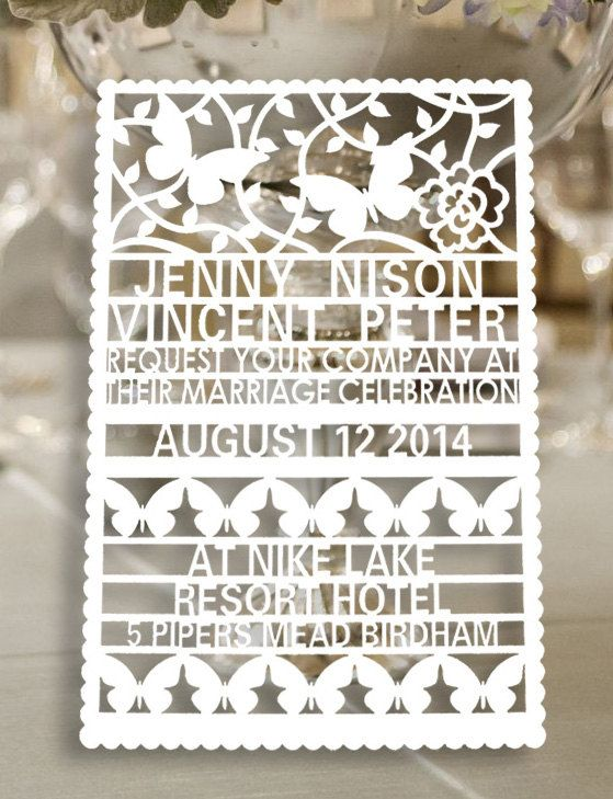 I WILL have these invitations if I ever get married again!!! 100pcs customer laser cut wedding invitation by WeddingFavorStore