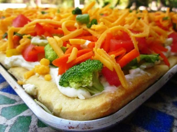 Vegetable Pizza Recipe -I'd say this is my favorite food ever and has been since I was a little girl. I remember my mom always making it for me for my birthday because I loved it so much...delicious
