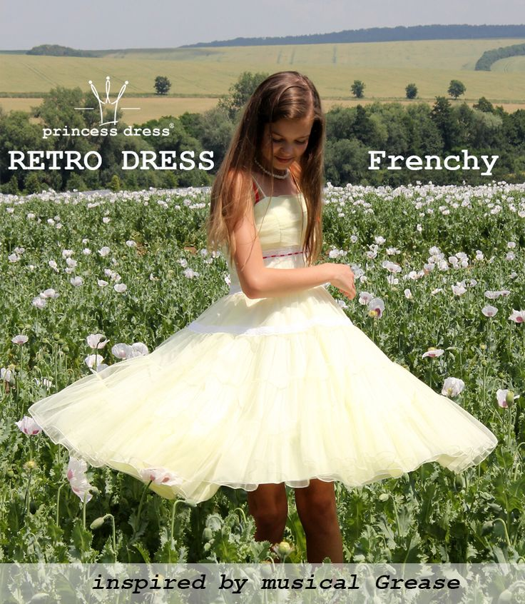 Frenchy Grease Inspired Dress. Yellow fluffy dress with a length below the knee, suitable for social occasions.      Retro pattern - The split at the waist and wheel skirt (of several layers). Dress are on hangers, zipper in the side seam. Decorated with narrow lace and black satin ribbon. Material: tulle, polyester, satin.