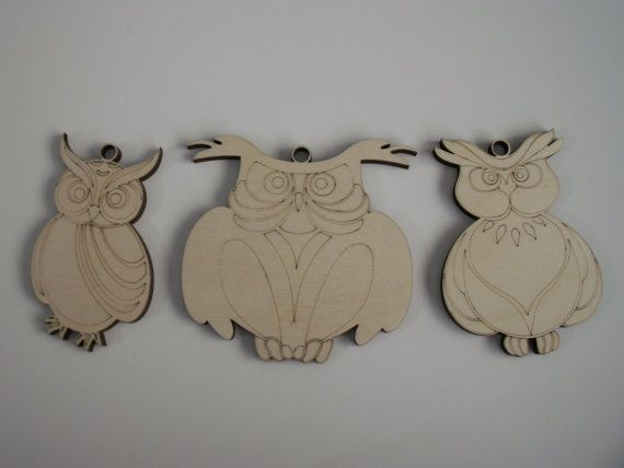 Owl  Wood Shapes 3 Pieces Owl Ornaments Assorted by TomaCraftPlace