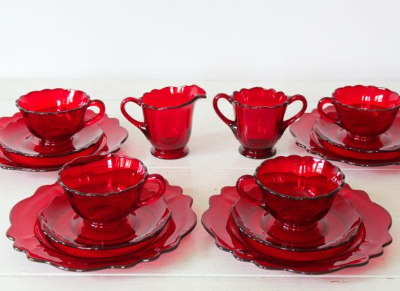 SALE / vintage 1930s 1940s Depression glass. Set of Ruby red glassware. Cream sugar cups plates. Mid century Art Deco / the SO DELICIOUS set