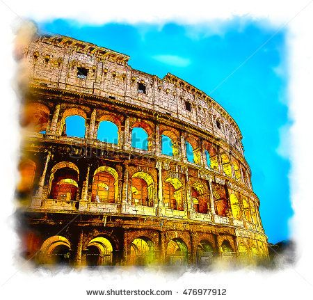 Ancient Colosseum in Rome, Italy. Stylized watercolor illustration.