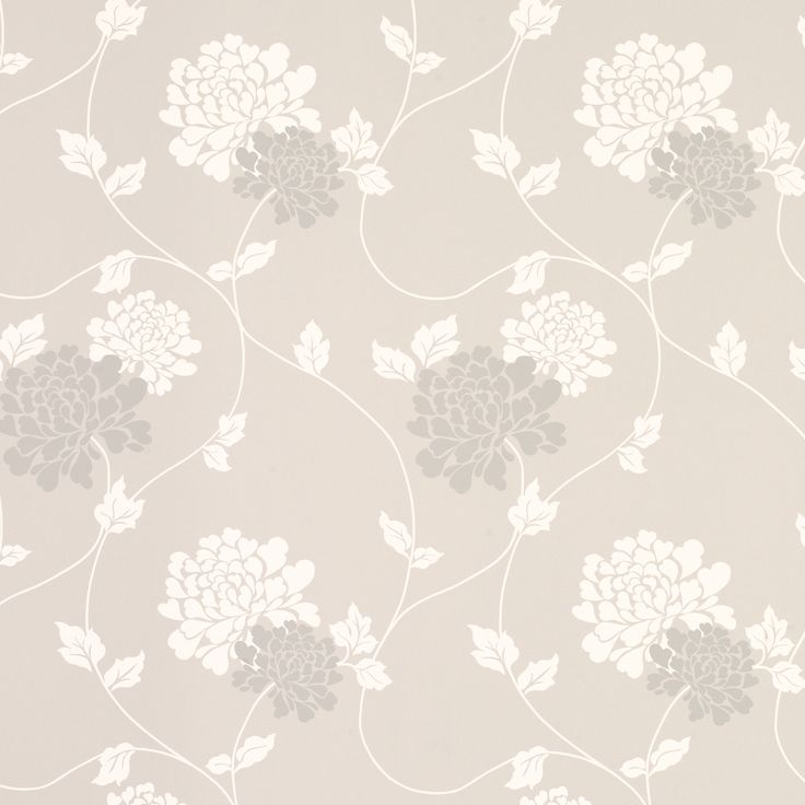 Isodore Dove Grey Floral Wallpaper | Laura Ashley