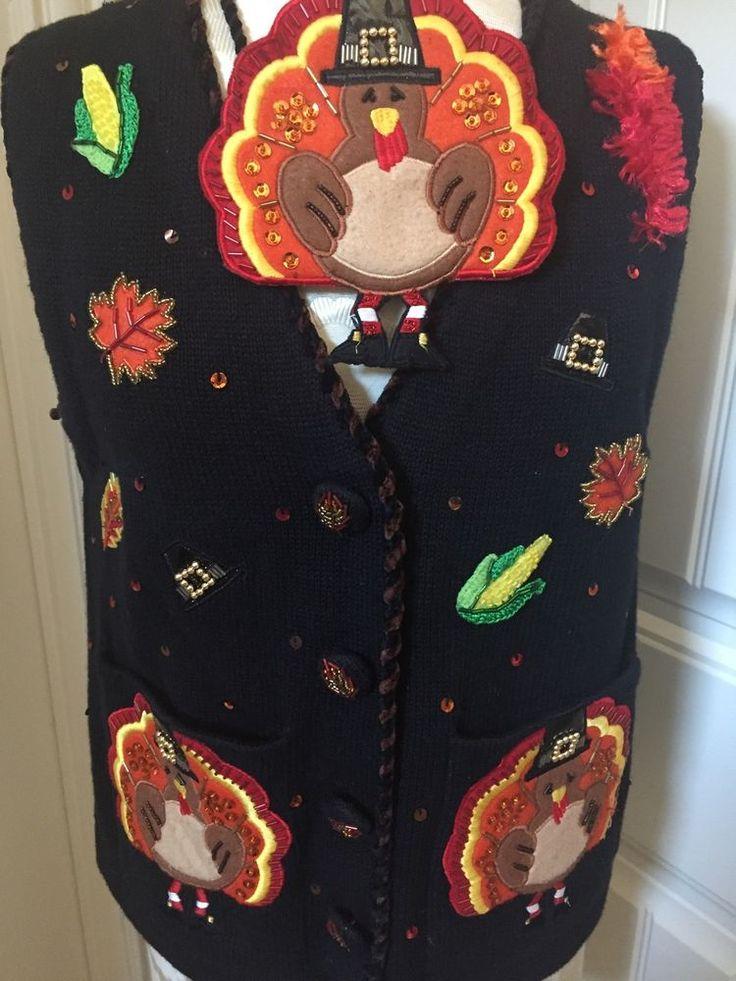 Jack B Quick Ugly Thanksgiving Sweater Purse Turkey Handknit Pilgrim Hats PM 3D | eBay