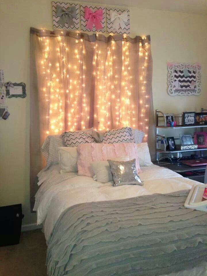 string up lights under curtains as a headboard diy On lights above headboard