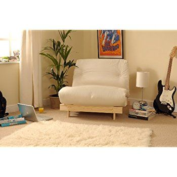 2ft6 Small Single Wooden Futon Set with Natural Cream Mattress