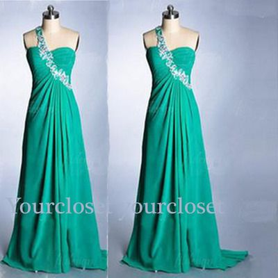 Elegant green chiffon one shoulder long handmade prom dress, graduation dress, party dress with sequins