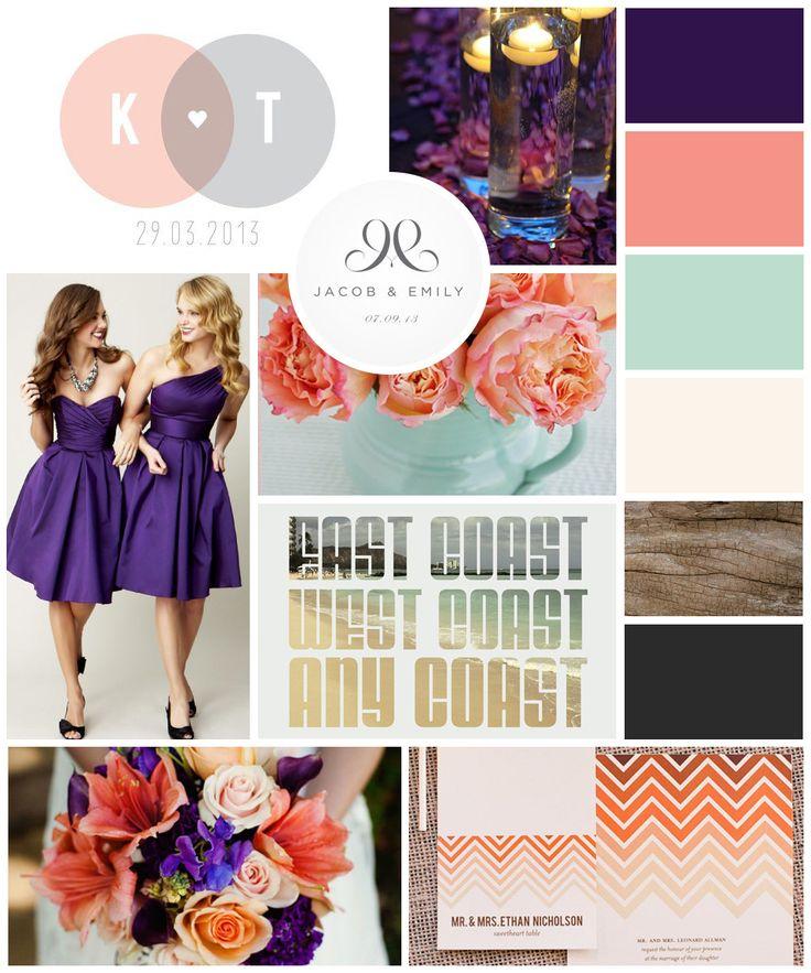 e+j mood board  |  wedding branding board, purple, plum, aubergine, coral, salmon, peach, mint, seafoam, ivory, natural, wood, ocean, charcoal